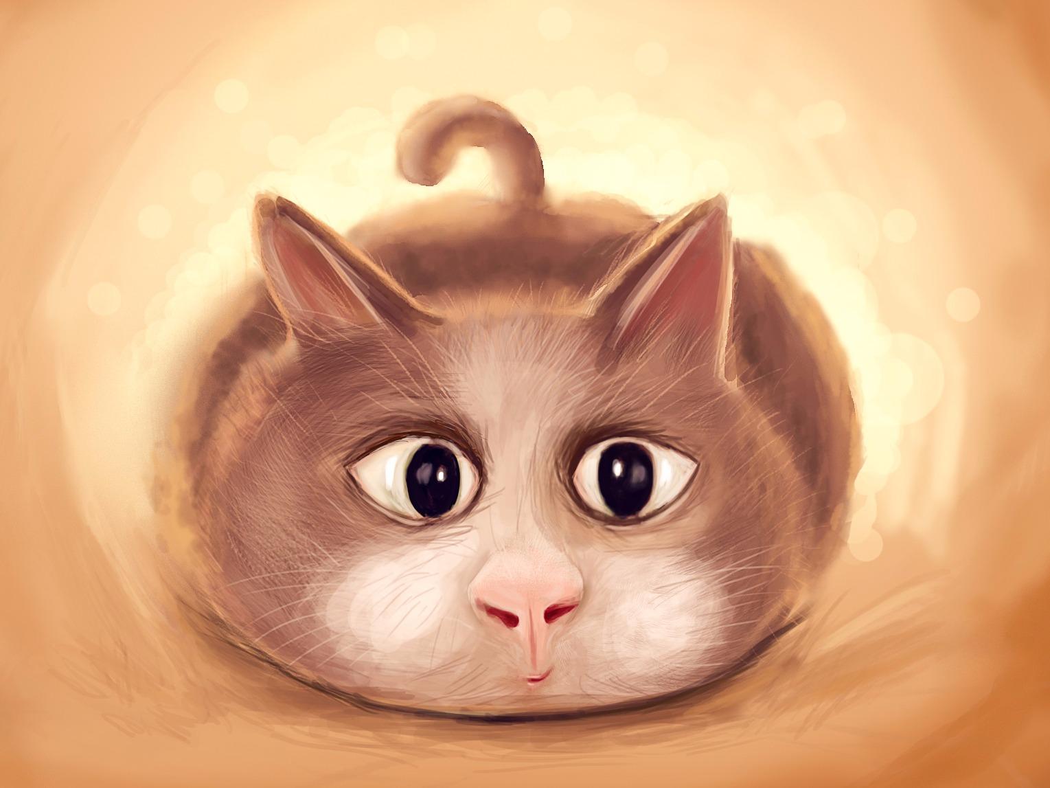 手绘可爱圆球小猫咪