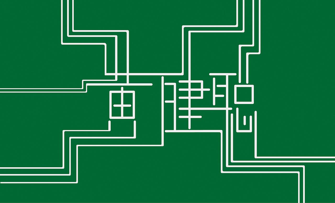 将名字设计成了电路板的形状