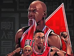 腾讯体育NBA乔丹纪录片《最后之舞》美漫长篇插画H5
