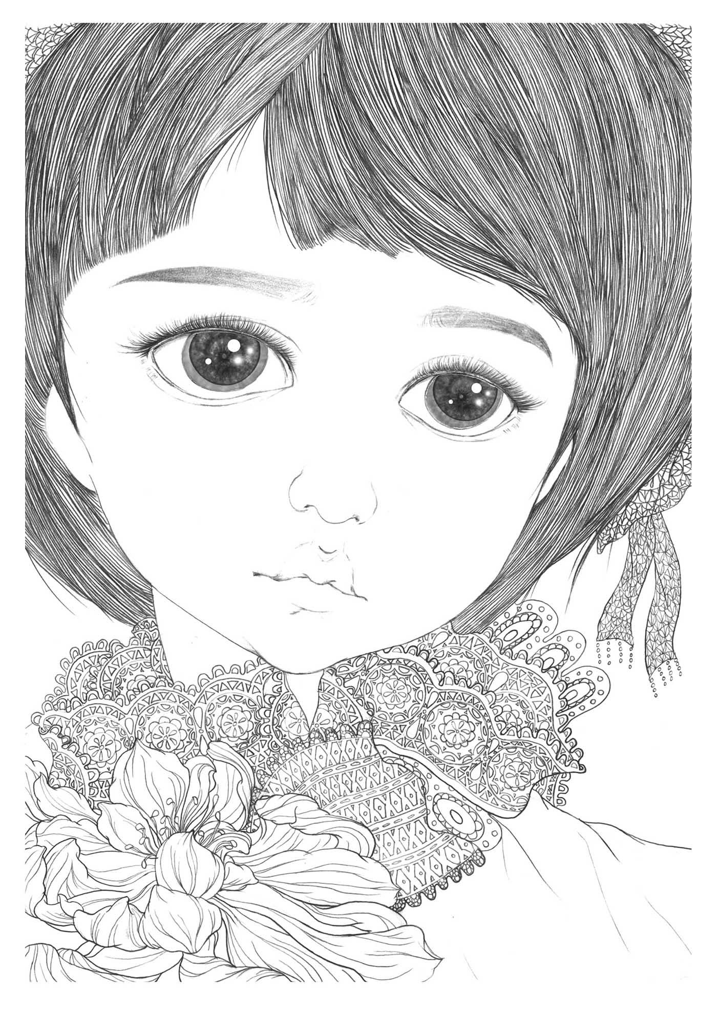 手绘铅笔线条人像插画