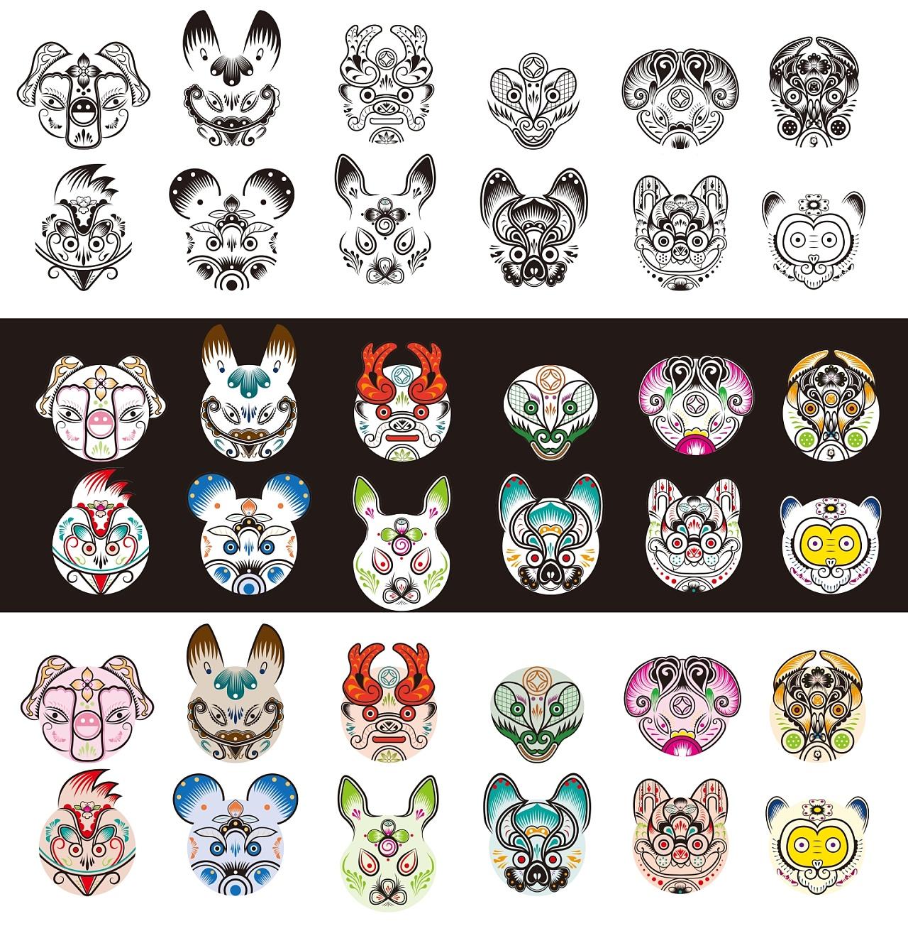 生肖系列的创意图案,了解凤翔彩绘泥塑的色彩,传统元素以及造型的变化