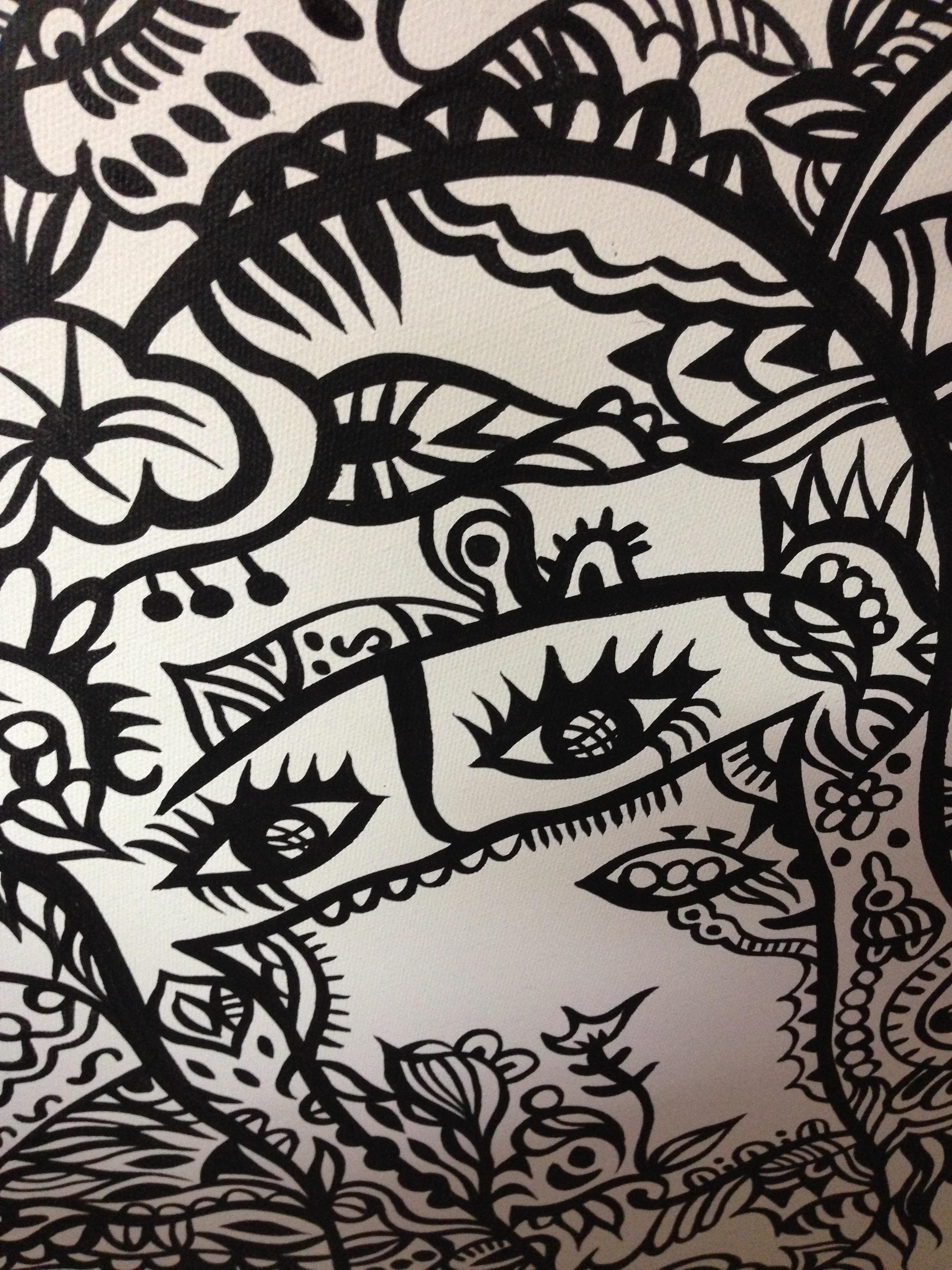 丙烯手绘《我看到的迪拜女人》
