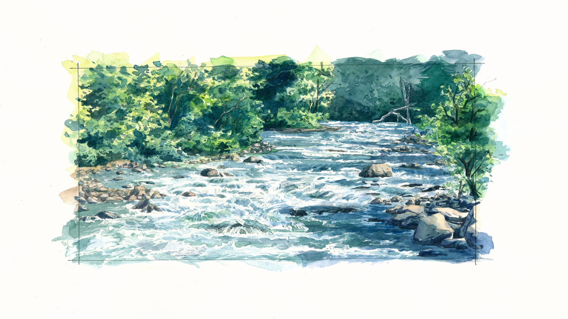 水彩手绘山涧