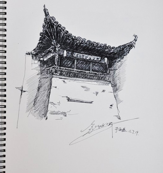 宏村写生风景速写 绘画习作 插画 y阳洋