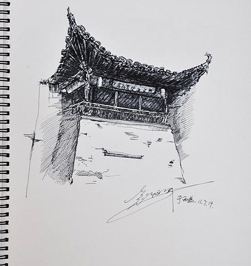 宏村写生风景速写图片