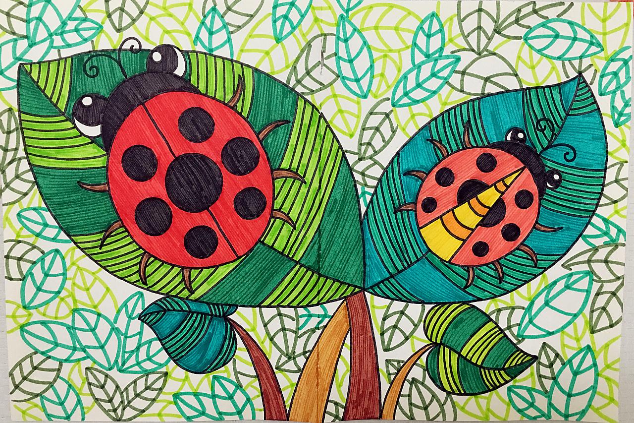 儿童画 瓢虫