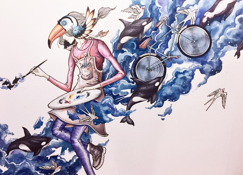 手绘水彩彩铅乱来系列《?》