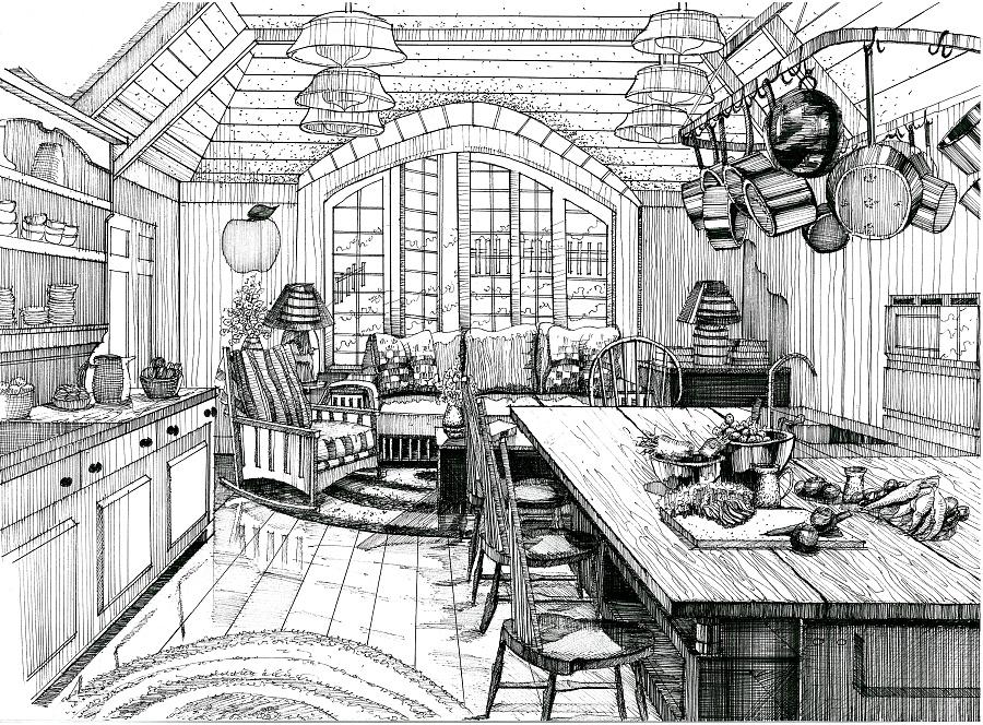 钢笔手绘|室内设计|空间/建筑|mhc绘