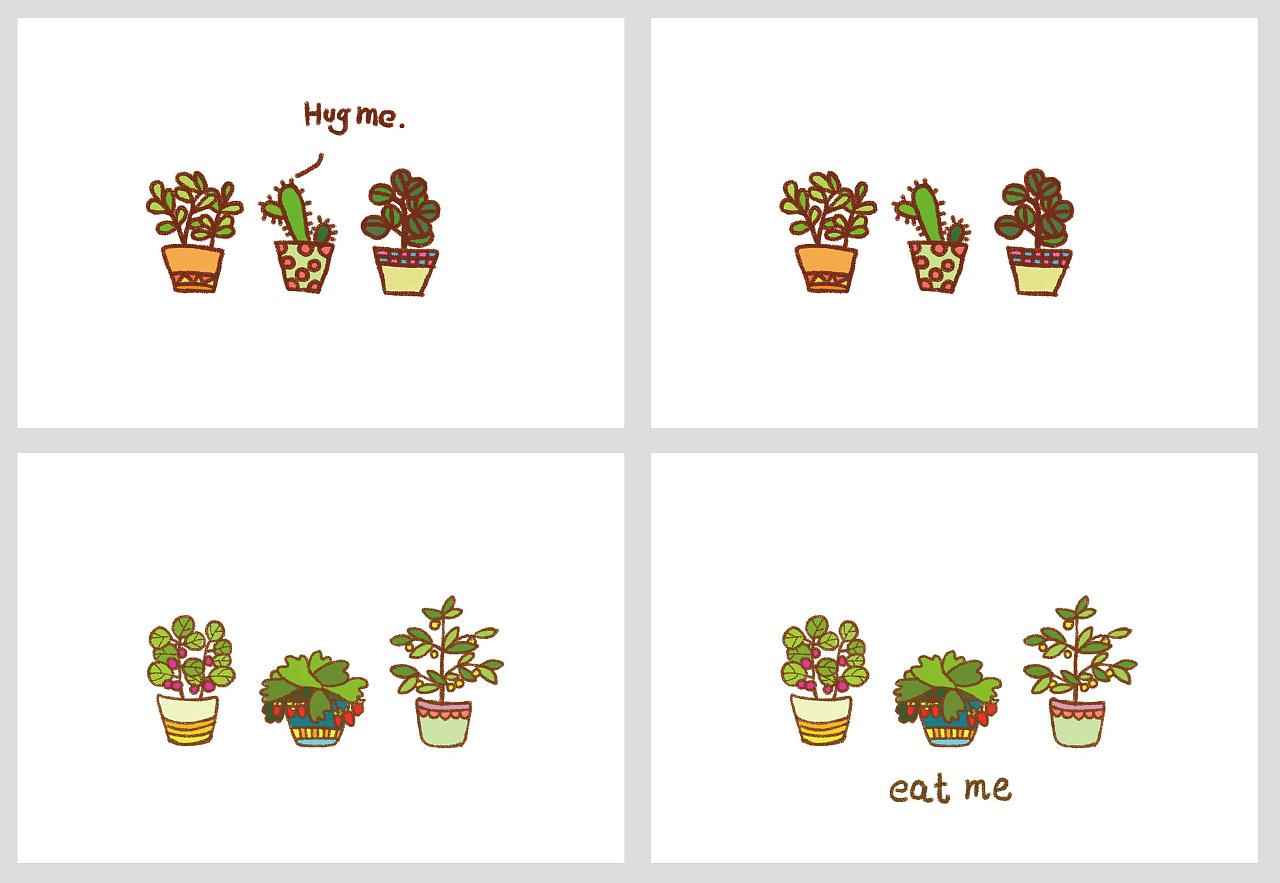 手绘简笔画/明信片小图案/明信片手绘小插画/明信片怎么做简单漂亮