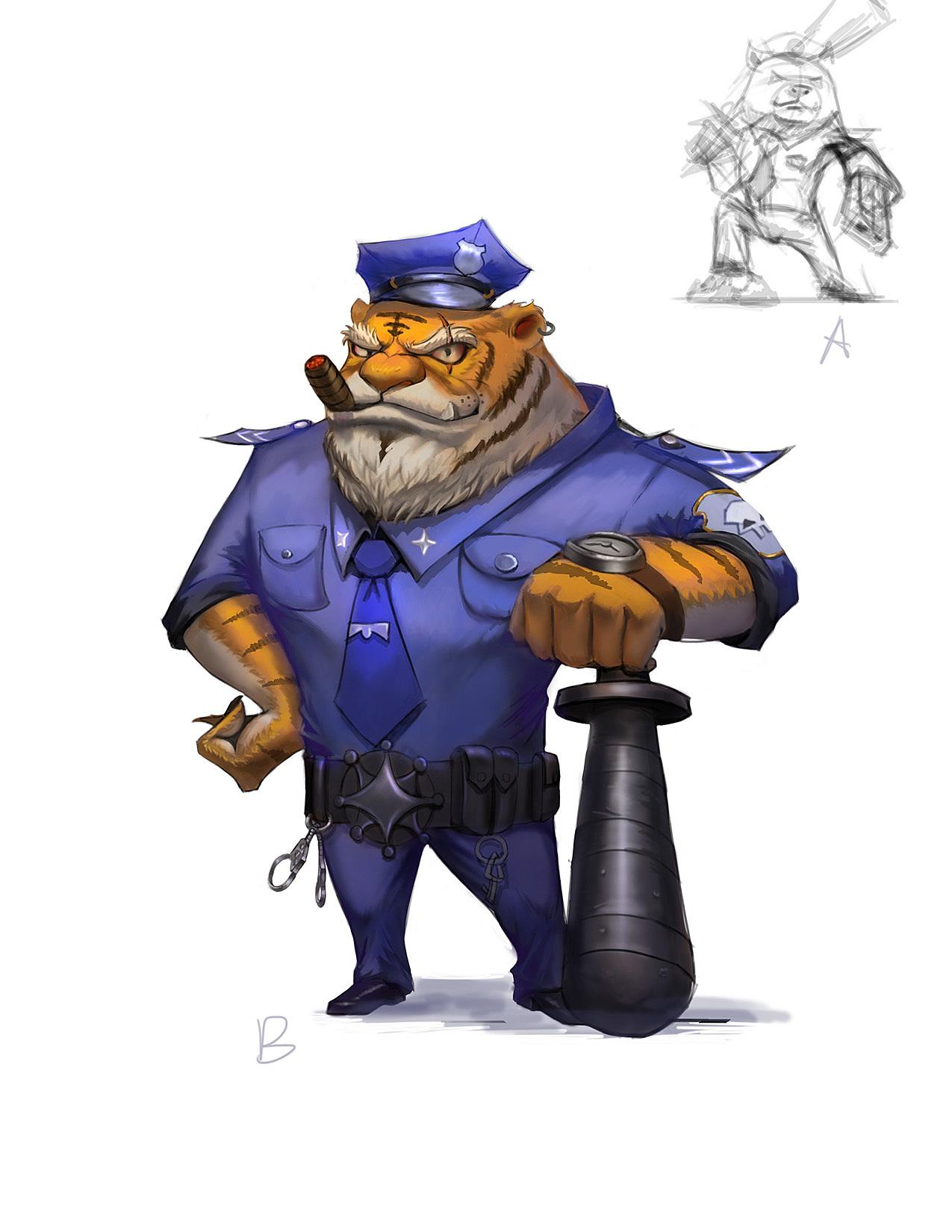 恶霸,警察,虎,练习.q版 游戏 原画设计 反派 制服