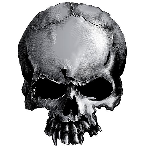 手绘骷髅头骨