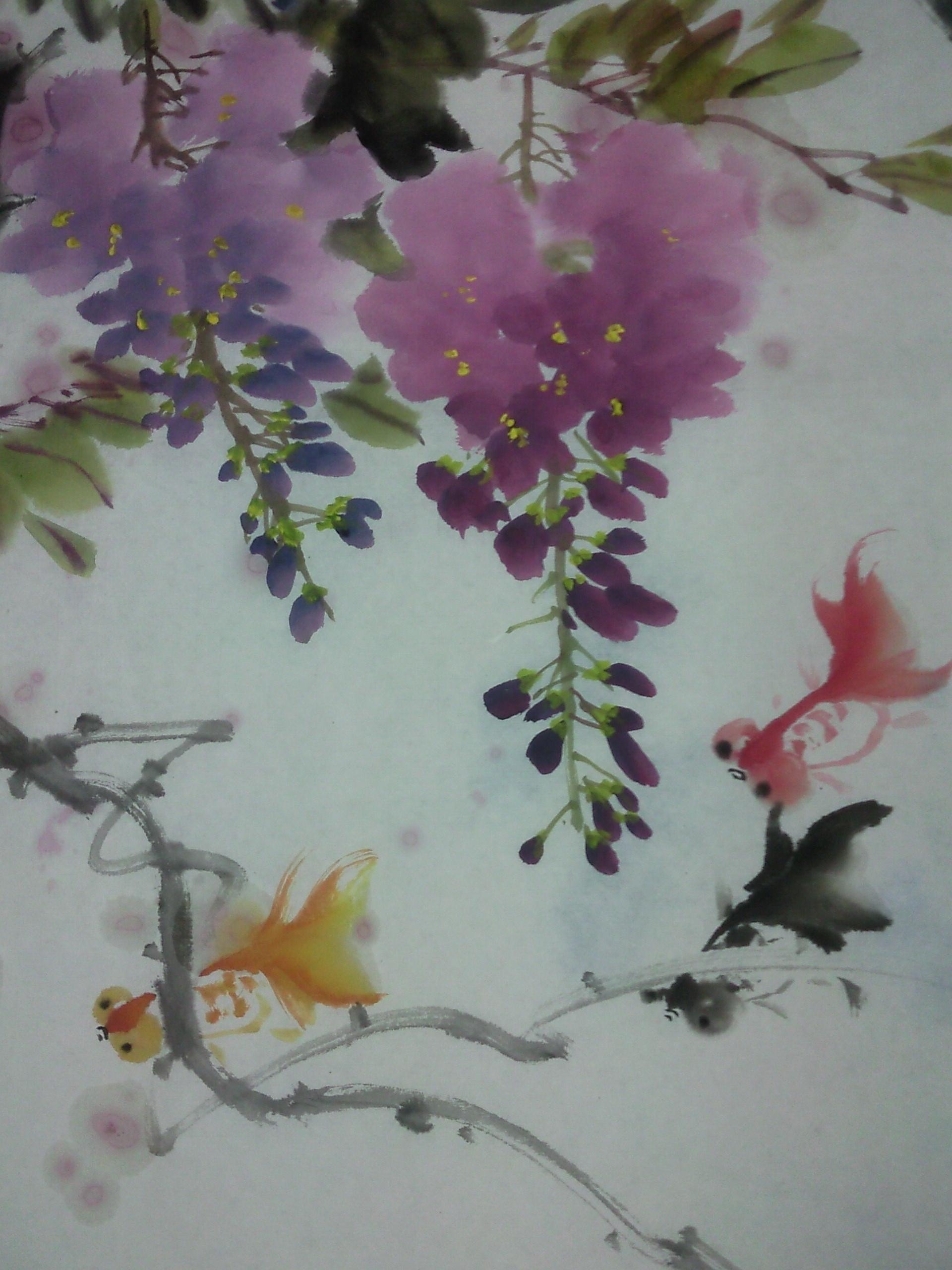 紫藤花图片 手绘 国画