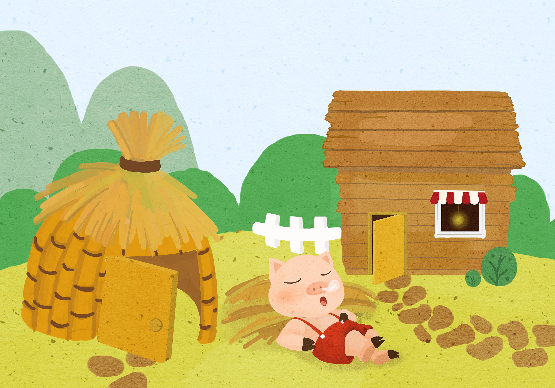 三只小猪|插画|儿童插画|多肉哇 - 原创作品 - 站酷 (ZCOOL)
