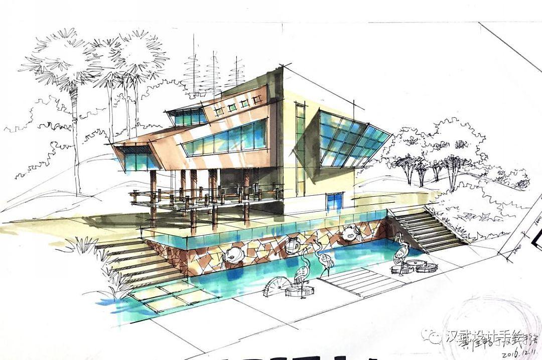 建筑景观上色步骤图详解