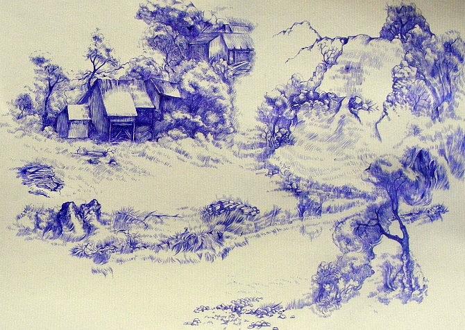 风景,圆珠笔画练习~!