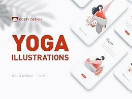 瑜伽APP插畫設計
