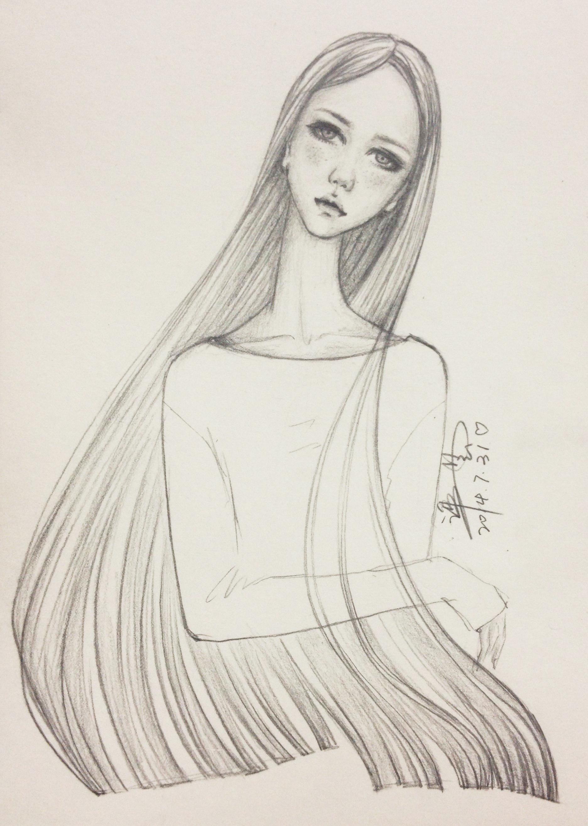 素描简笔画女孩