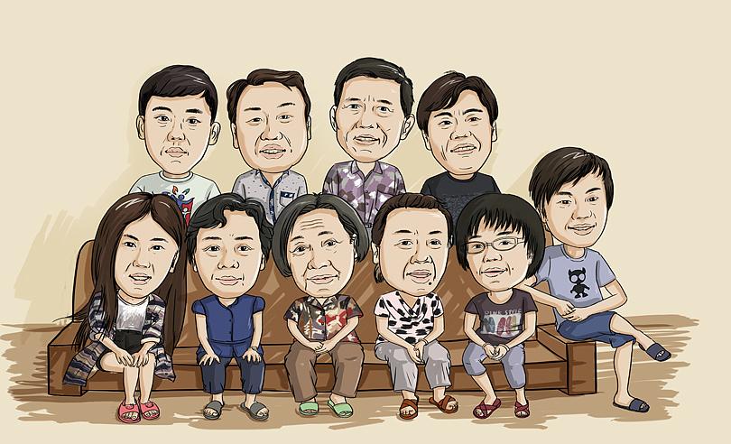 全家福 照片 手绘人物一家人 人物漫画 人物头像图片
