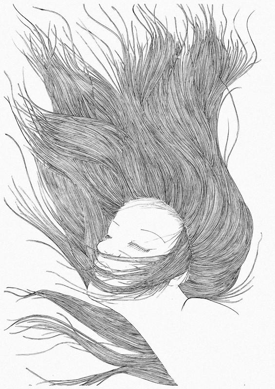 个性 插画 黑白 手绘 构成 自由 线条 头发 洒脱 点 曲线 面 后期