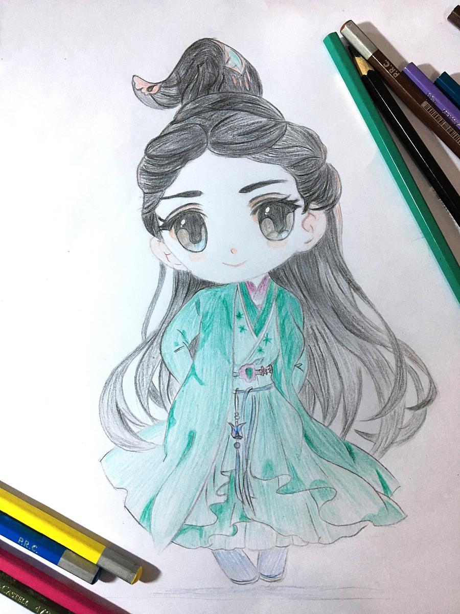 最近手绘临摹了一组赵丽颖的q版碧瑶|绘画习作|插画