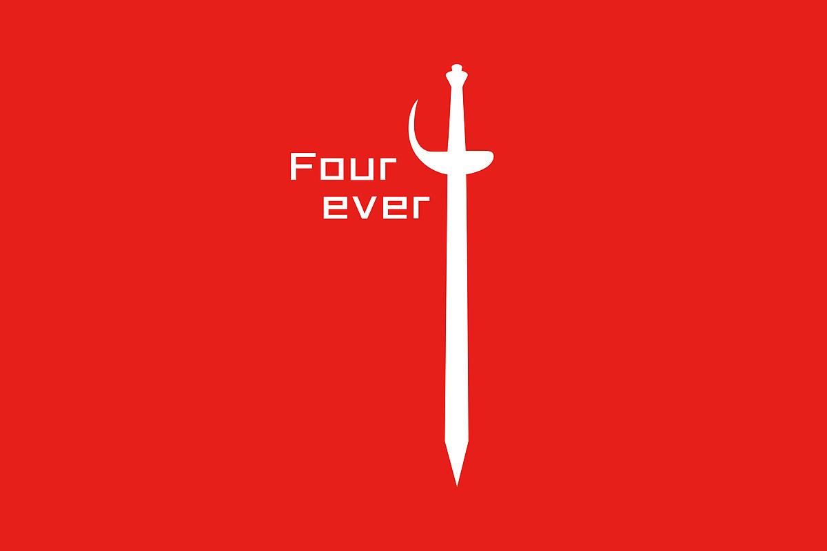四班logo及班旗设计,主题图案是数字4,也是一把剑,four ever音同forev图片