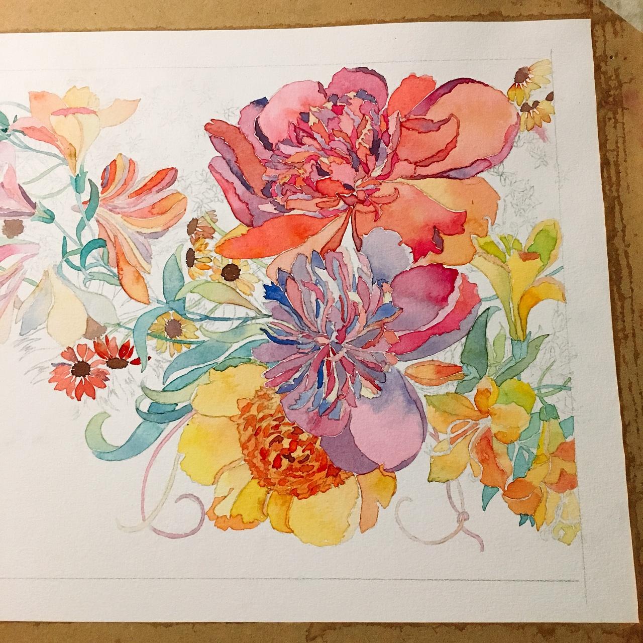 二十四节花卉手绘