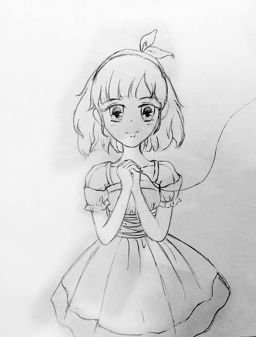 原创手绘插画线稿 爱丽丝姐妹系列 5格漫画