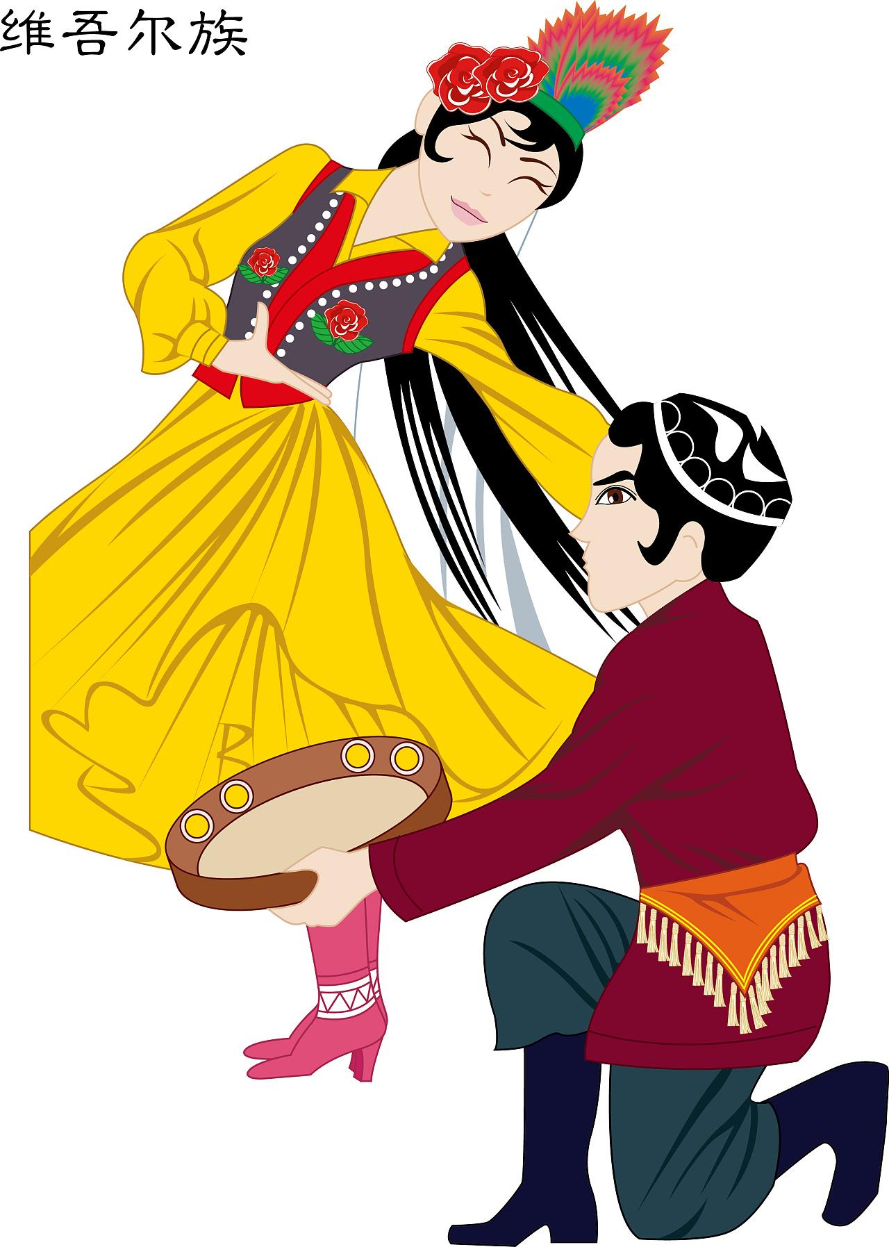 少数民族 适量ai文件 适量人物 手绘人物 傣族,维吾尔