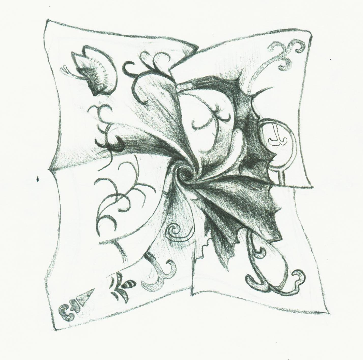 简笔画 手绘 线稿 枕头 1427_1414