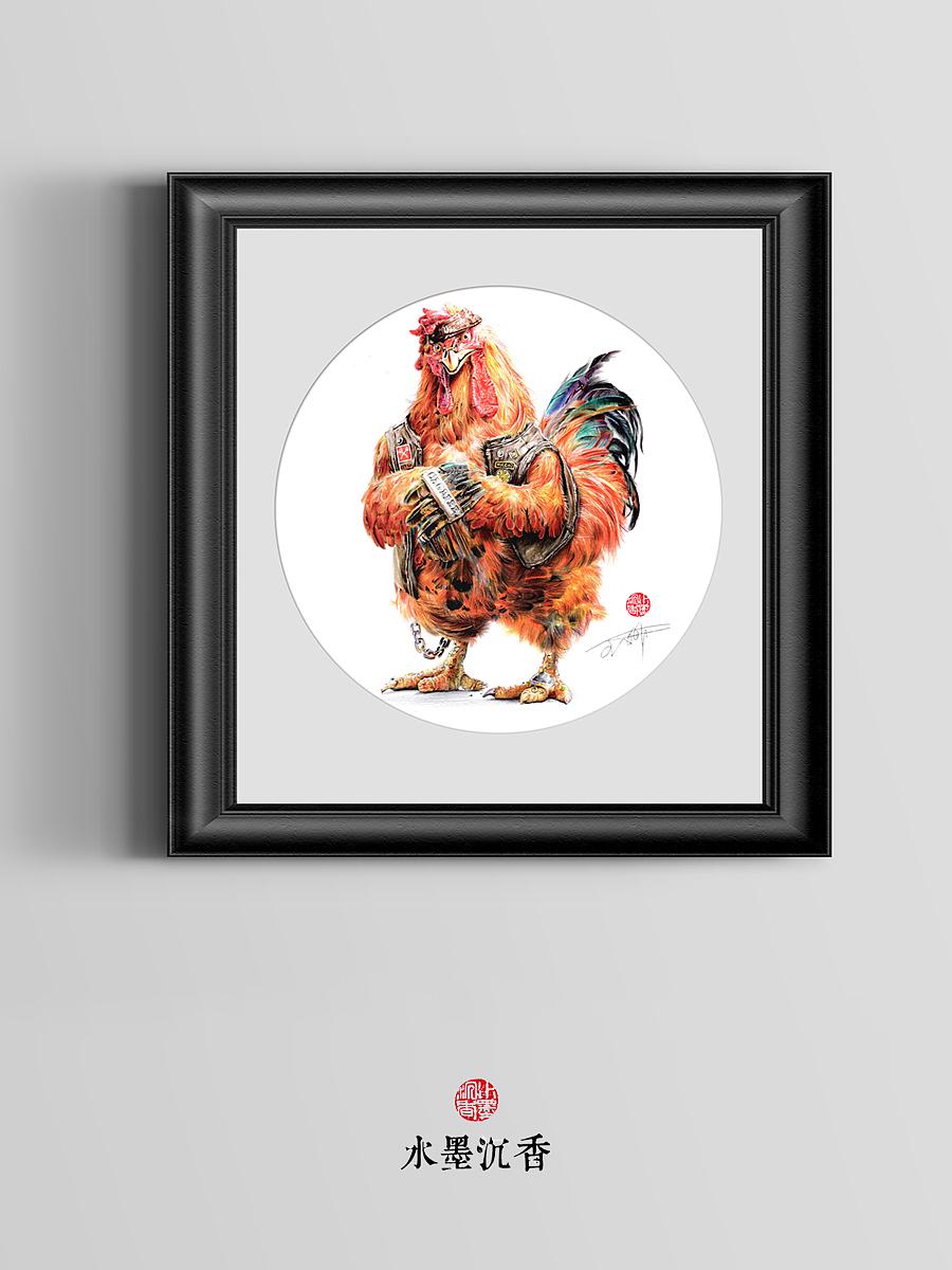 《战斗鸡》彩铅画  辉柏嘉水溶彩铅     《年画