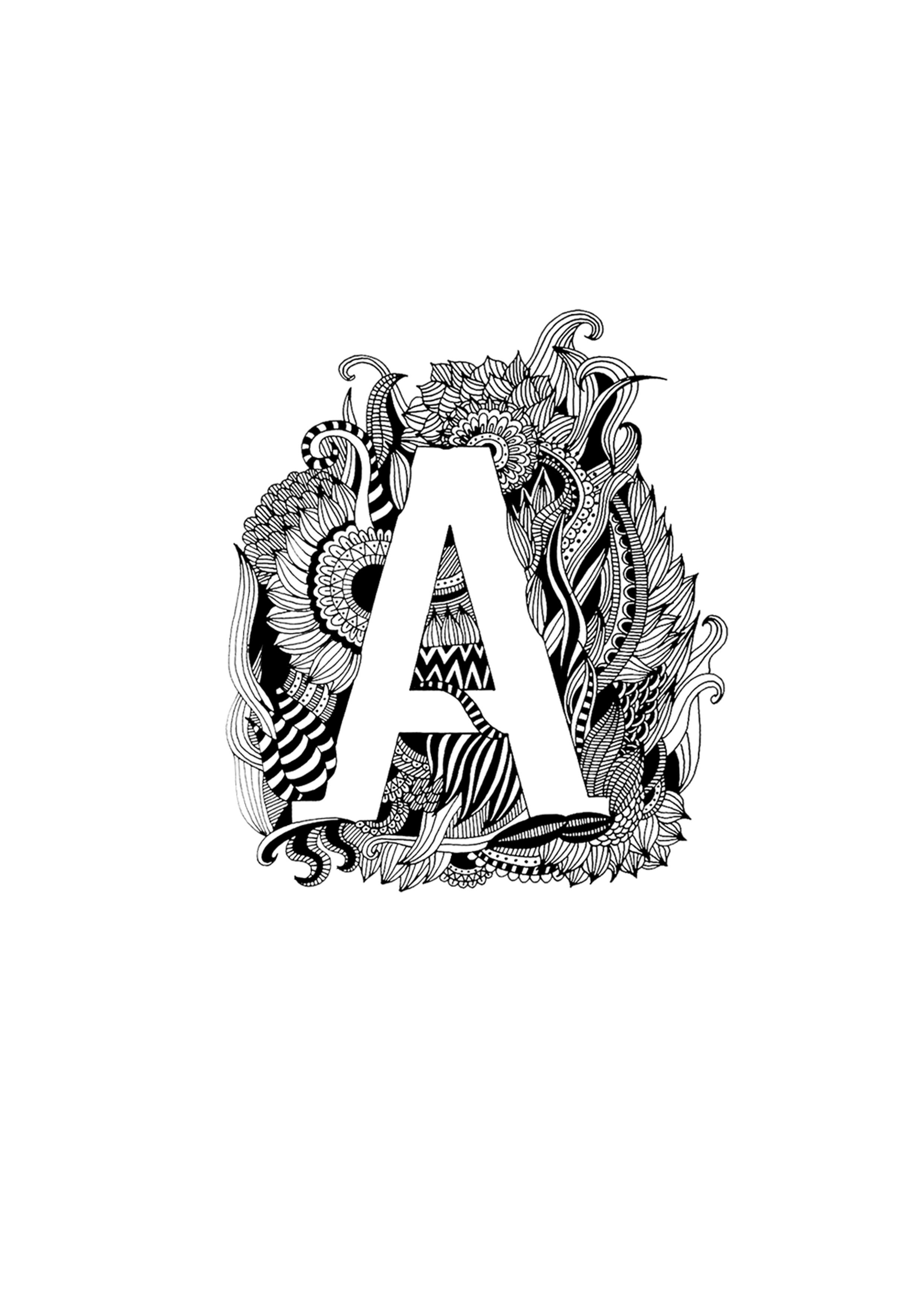 手绘字母插画-a