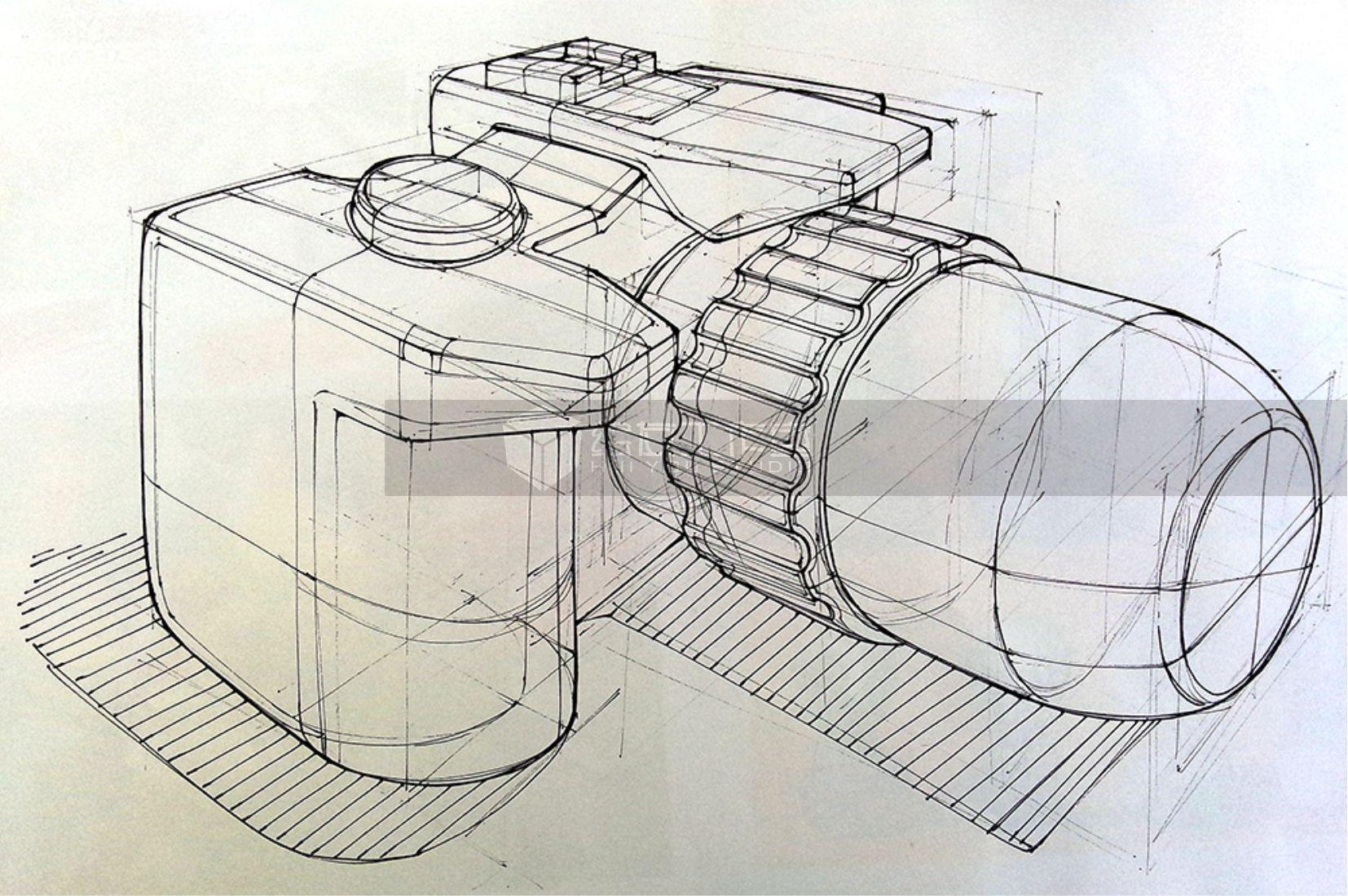 手绘单反相机线稿——工业设计产品手绘 (内含作画视频)