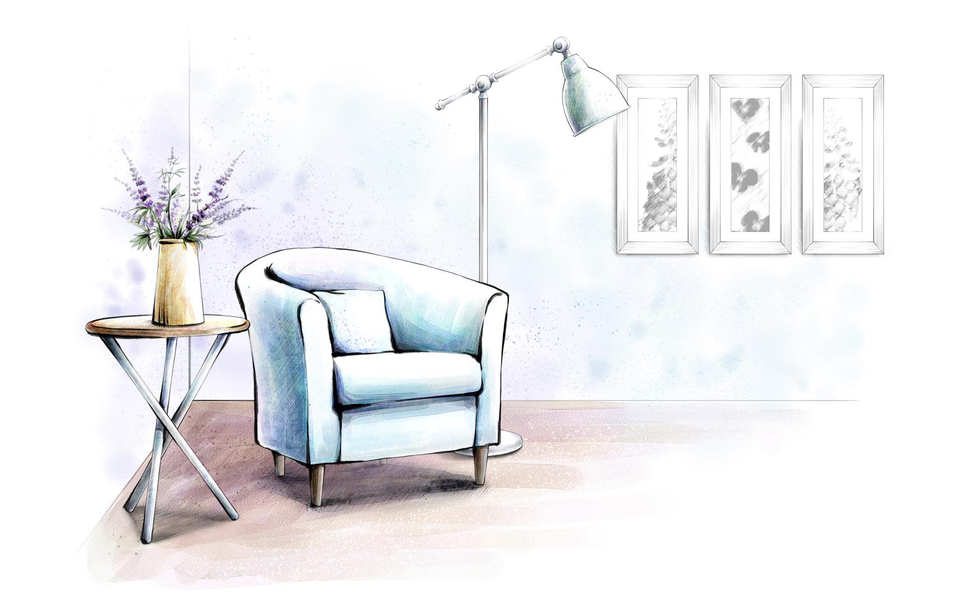 手绘家居图|空间|建筑设计|ui粉 - 原创作品 - 站酷