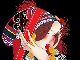 巨灵设计:云南少数民族少女插画设计