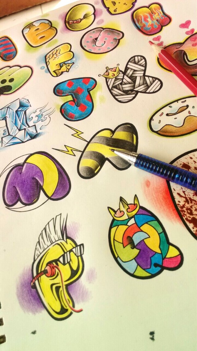 纹身手稿——英文字母26个|商业插画|插画|2nu7lg