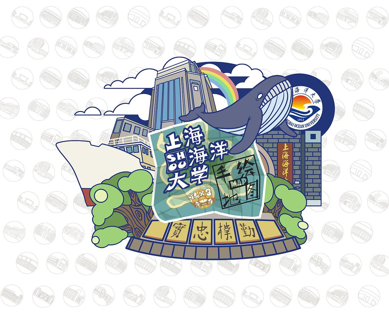 上海海洋大学手绘地图