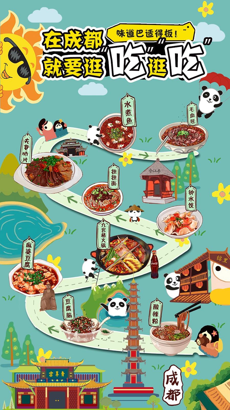 成都美食小地图 攻略 卡通手绘海报