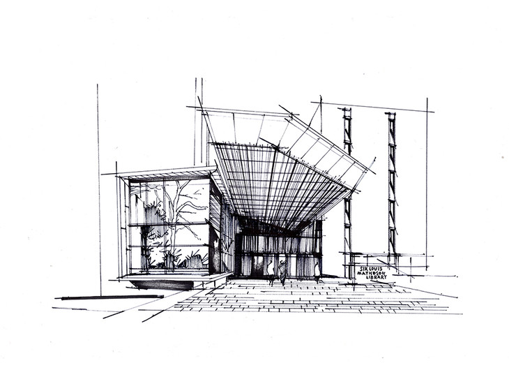 墨尔本图书馆建筑手绘临摹图昆明手绘培训一行|钢笔画