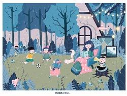 @豆瓣酱-MIAO- 独立原创蓝粉色系儿童插画-快乐假期