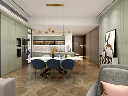 南滨特区户型装修案例,现代轻奢大平层设计图,天古装饰