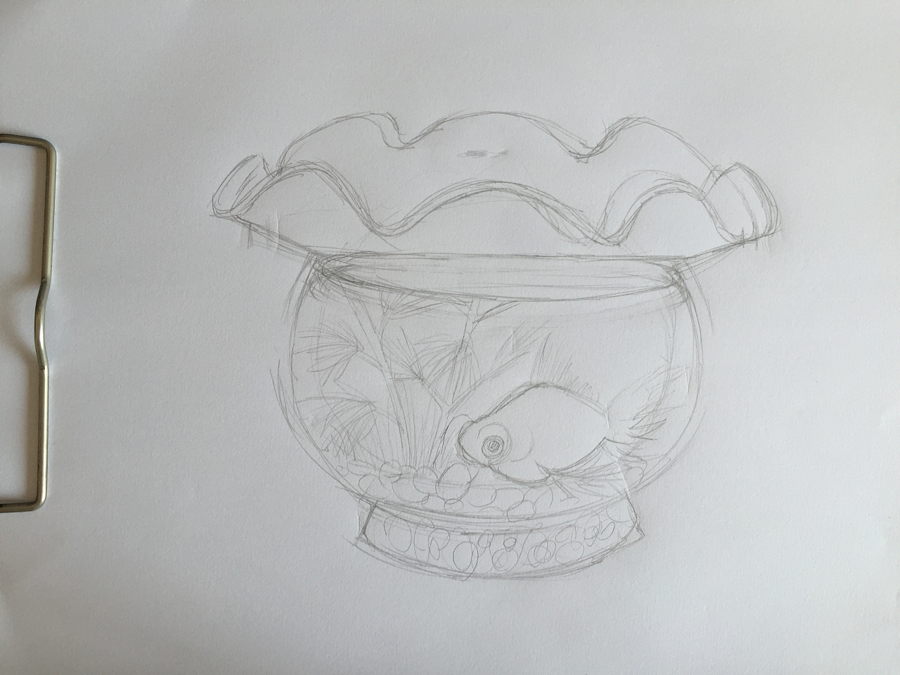 鱼缸背景图手绘