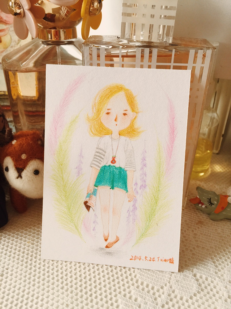 手绘彩铅小人物系列插画33|商业插画|插画|丁小婧