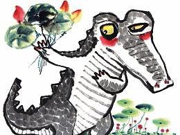 宣纸水墨插画鳄鱼系列