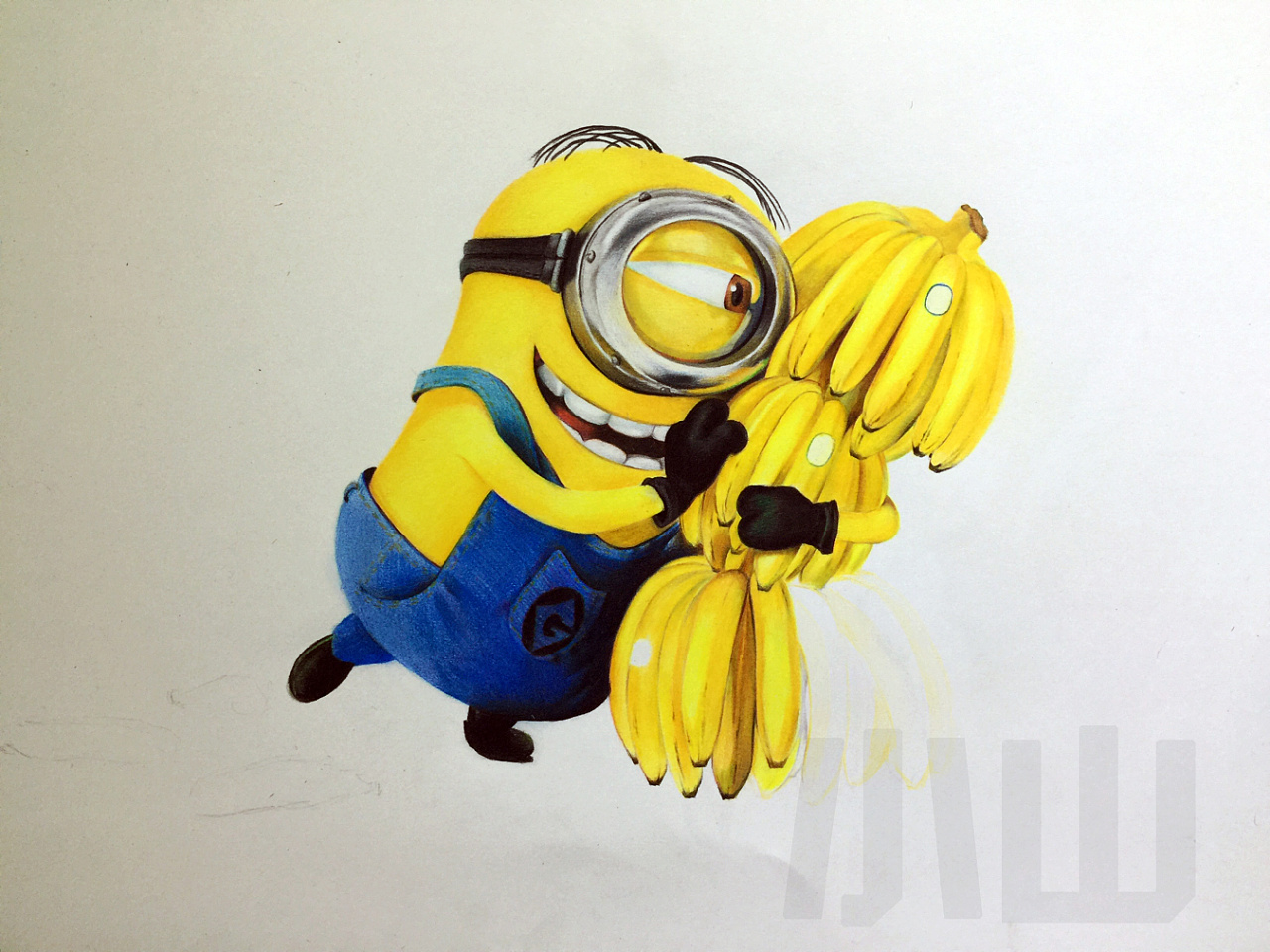 彩铅手绘小黄人