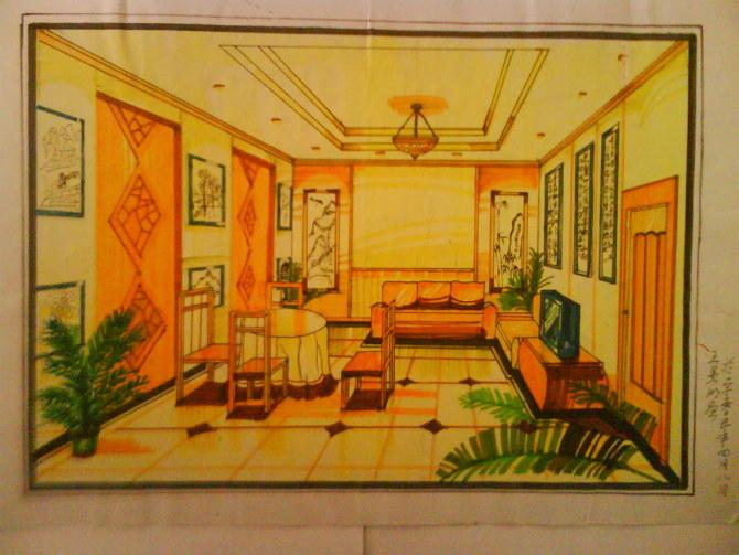 室内设计马克笔表现图|商业插画|插画|夏云奇峰明子