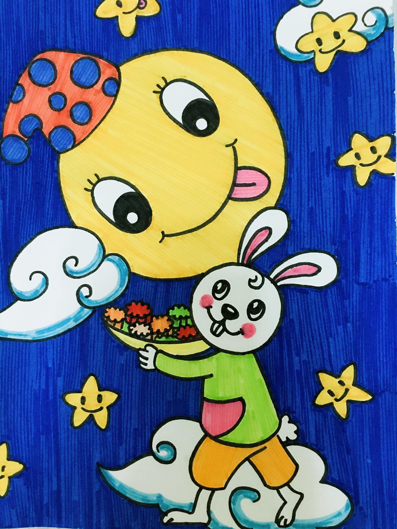 儿童画 中秋图片