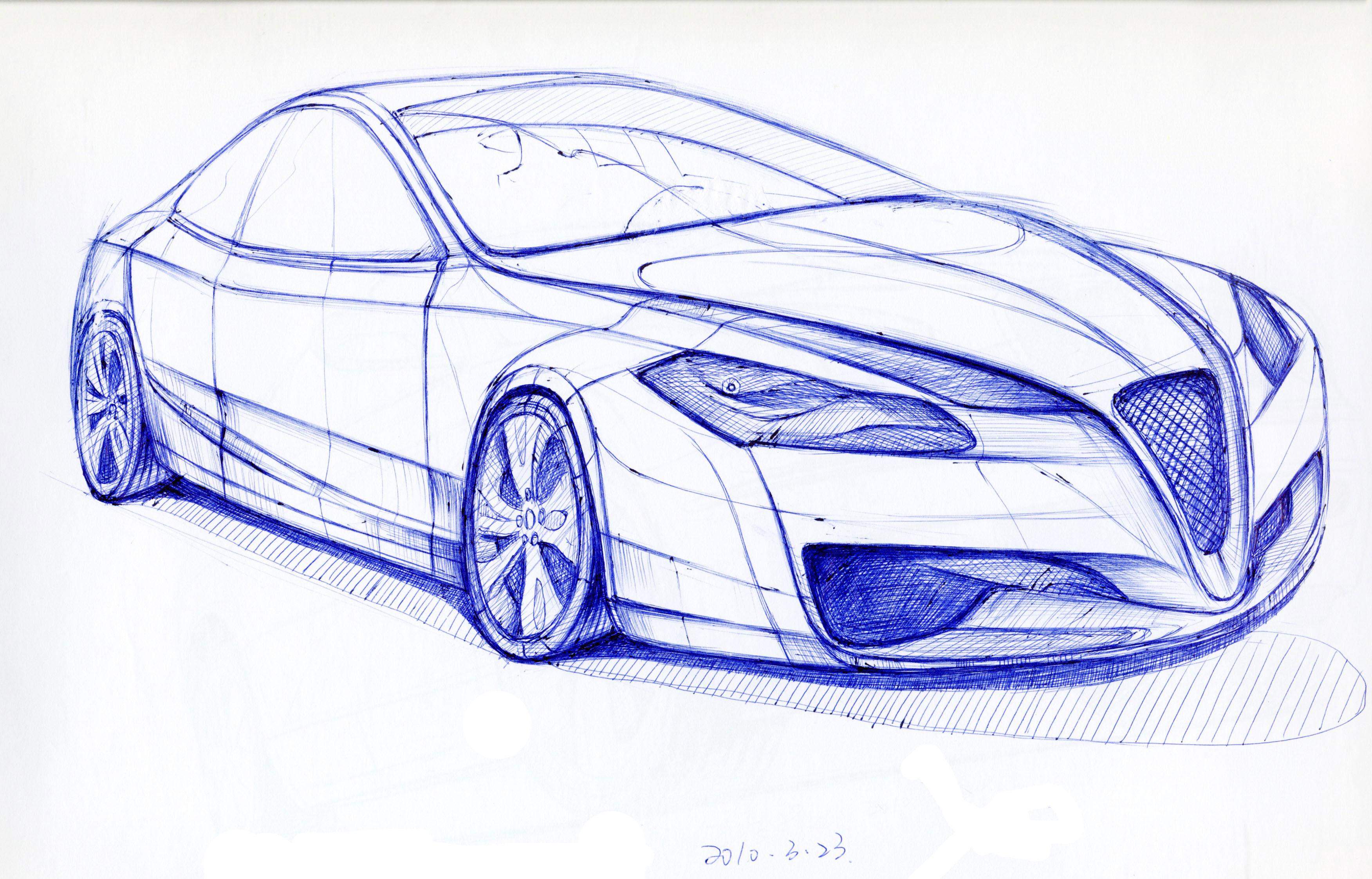 圆珠笔手绘汽车作品