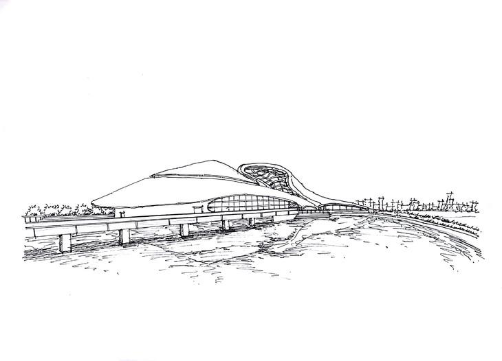 哈尔滨大剧院建筑手绘临摹图广州手绘培训一行手绘