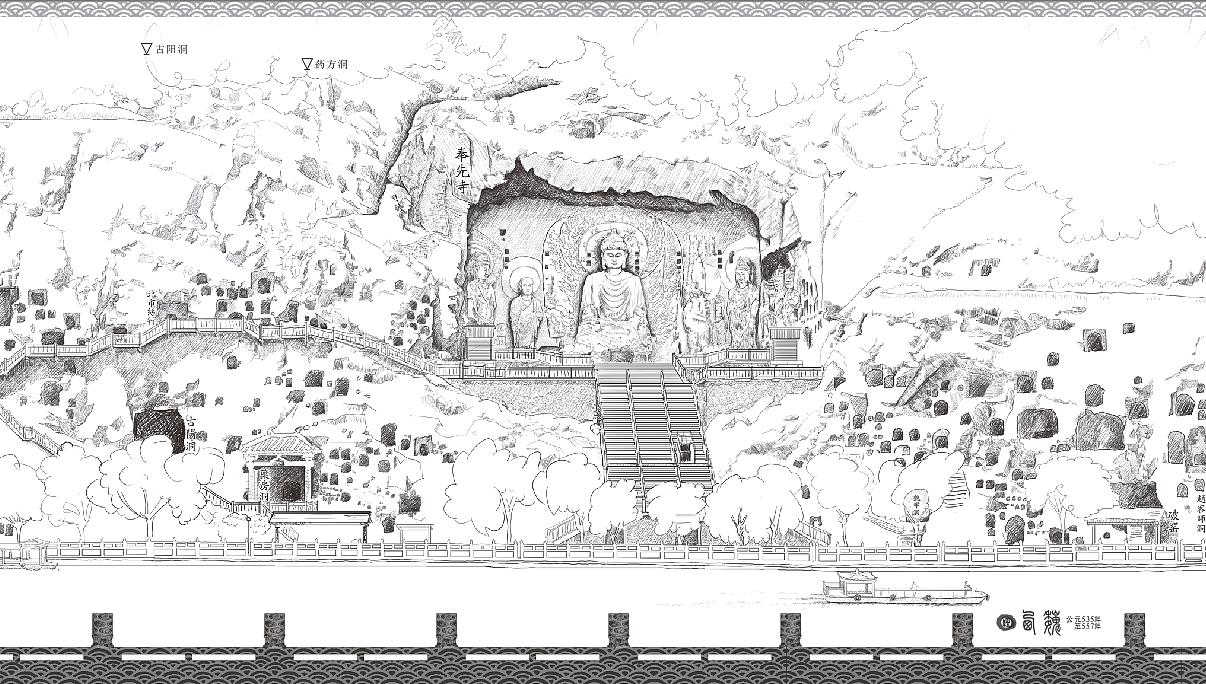 龙门石窟全景手绘图