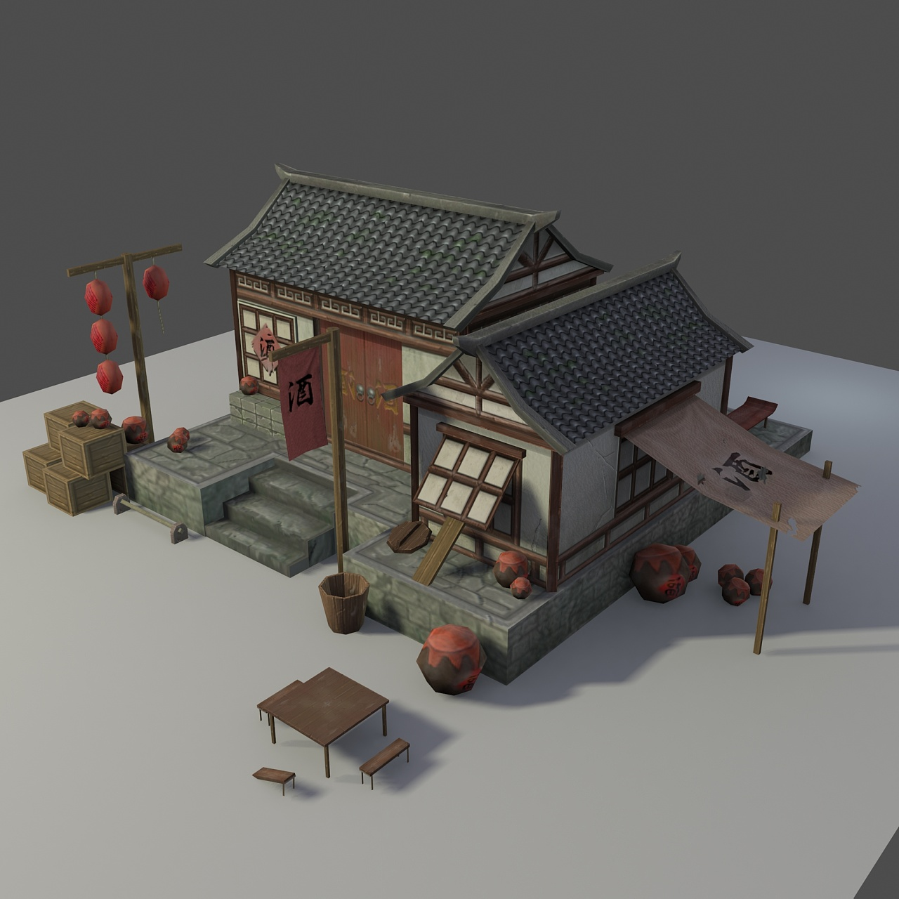 古装游戏建筑模型